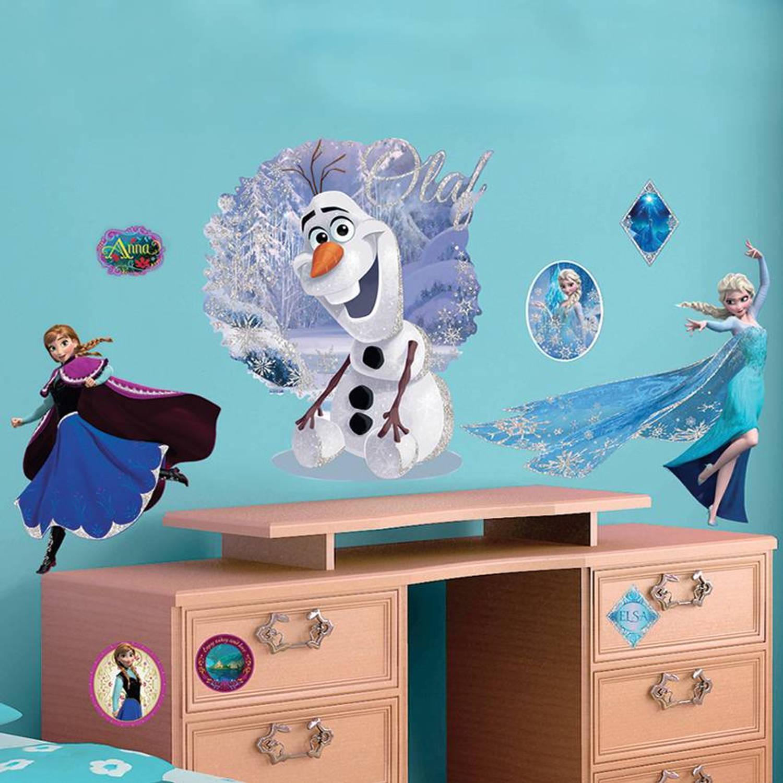 Disney Elsa & Olaf - Muursticker - 100 X 70 Cm - Multi