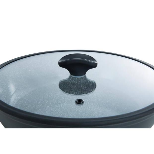 BK Blue Label Stone hapjespan met glazen deksel - Ø 28 cm