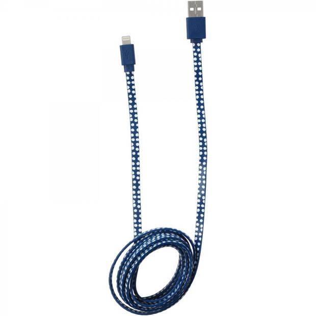 8 Pin Oplaadkabel met stippen - blauw/wit