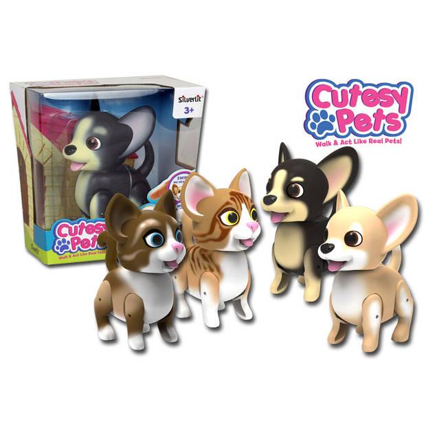 Silverlit Cutesy Pets hond - 15 cm - zwart/beige