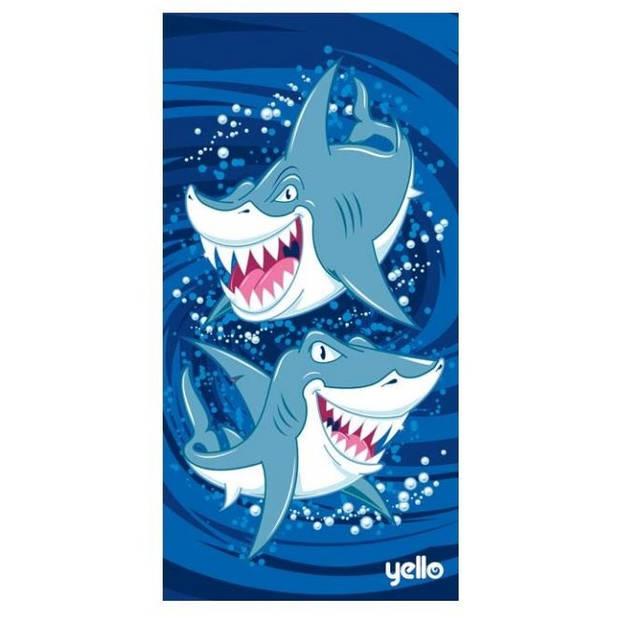 Yello badlaken haaien blauw 75 x 150 cm
