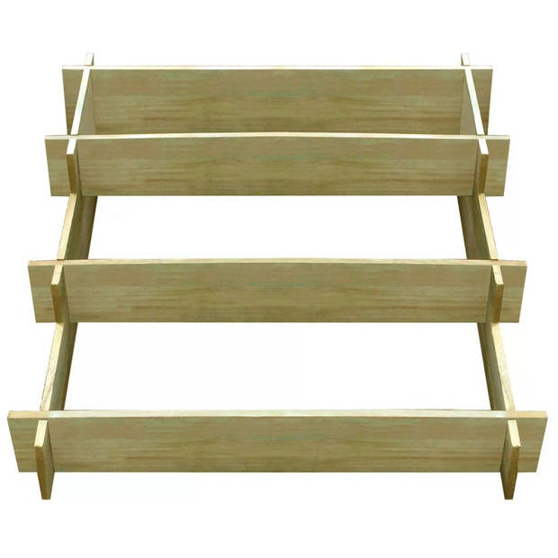 vidaXL Plantenbak drielaags 90x90x35 cm geïmpregneerd hout