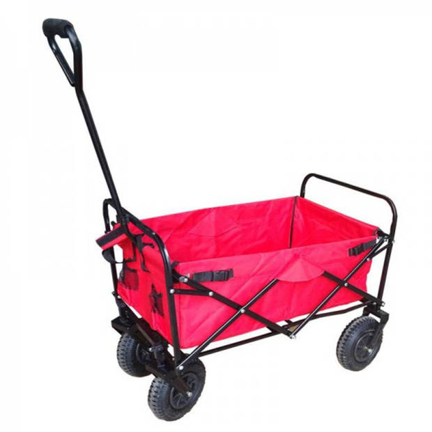 Bolderkar / Bolderwagen opvouwbaar rood met luchtbanden en opberghoes