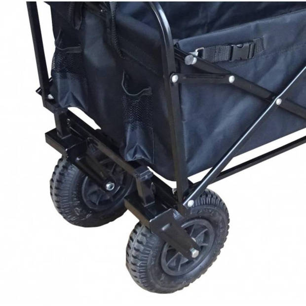 Bolderkar / Bolderwagen opvouwbaar zwart met luchtbanden en opberghoes