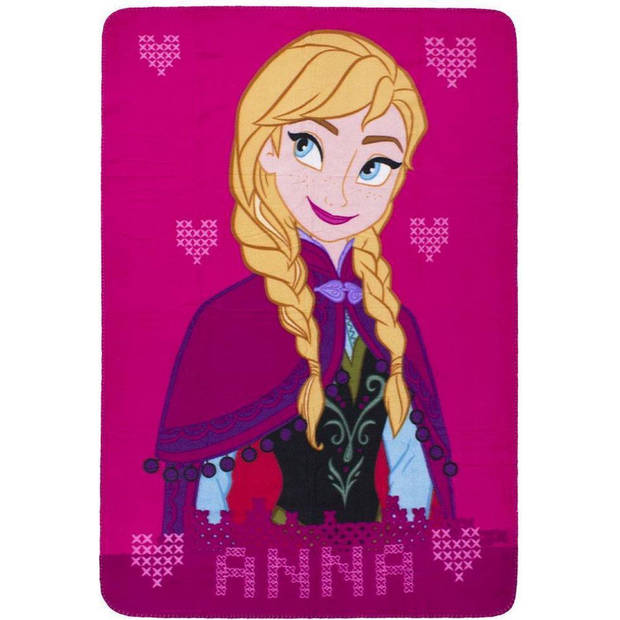 Disney Frozen Rose Anna Fleece plaid - 140 x 100 cm - Roze