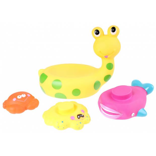 Eddy Toys Baddier: slak met vriendjes 17 cm geel