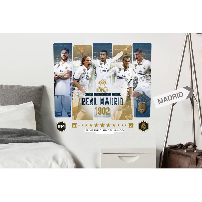 Real Madrid 5 spelers - Muursticker - 47 x 52 - Multi