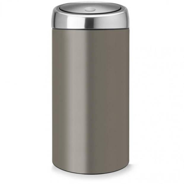 Brabantia Touch Bin afvalemmer 2 x 20 liter met 2 kunststof binnenemmers - Platinum / Matt Steel Fingerprint Proof