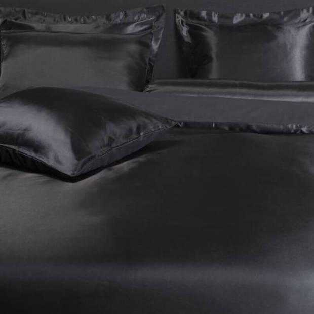 Nightlife Silk Dekbedovertrek Satin Uni Black-200x200/220