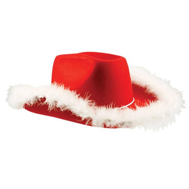 Benza Luxe Cowboyhoed Kerstmuts Rood