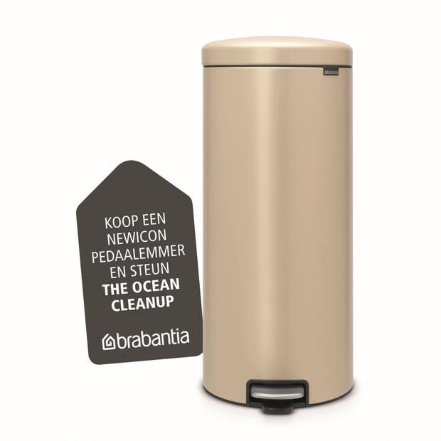 Brabantia newIcon pedaalemmer 30 liter met kunststof binnenemmer - Mineral Golden Beach