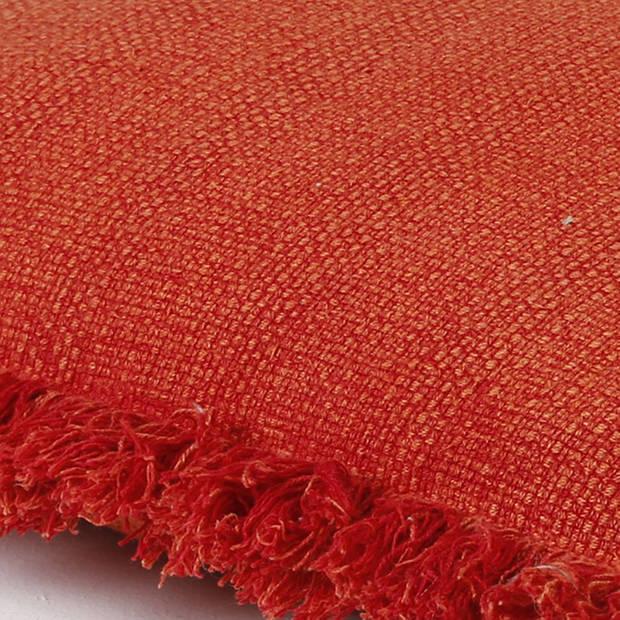 Dutch Decor Sierkussen Riete 45x45 cm rood