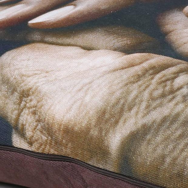 Dutch Decor Sierkussen Blomme 40x60 cm bruin