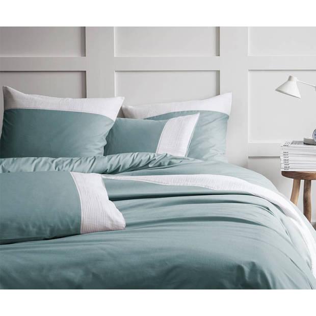 Matt & Rose Plissé Tendance Blue white - Dekbedovertrek - Lits Jumeaux - 240 x 220 cm - Groen