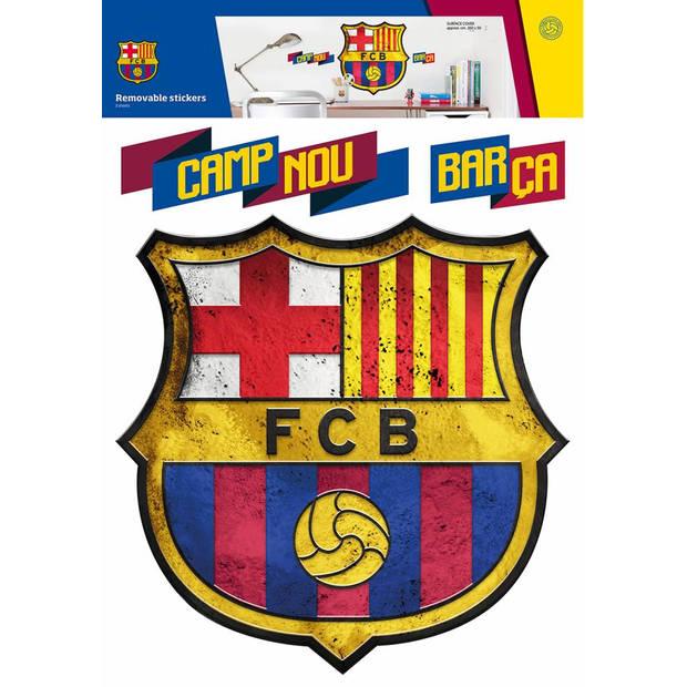 Fc barcelona logo - muursticker - 45 x 54 cm - multi