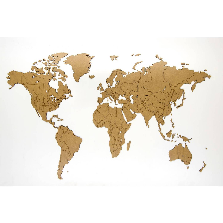 Luxe houten wereldkaart true puzzel 100 x 60 cm - base