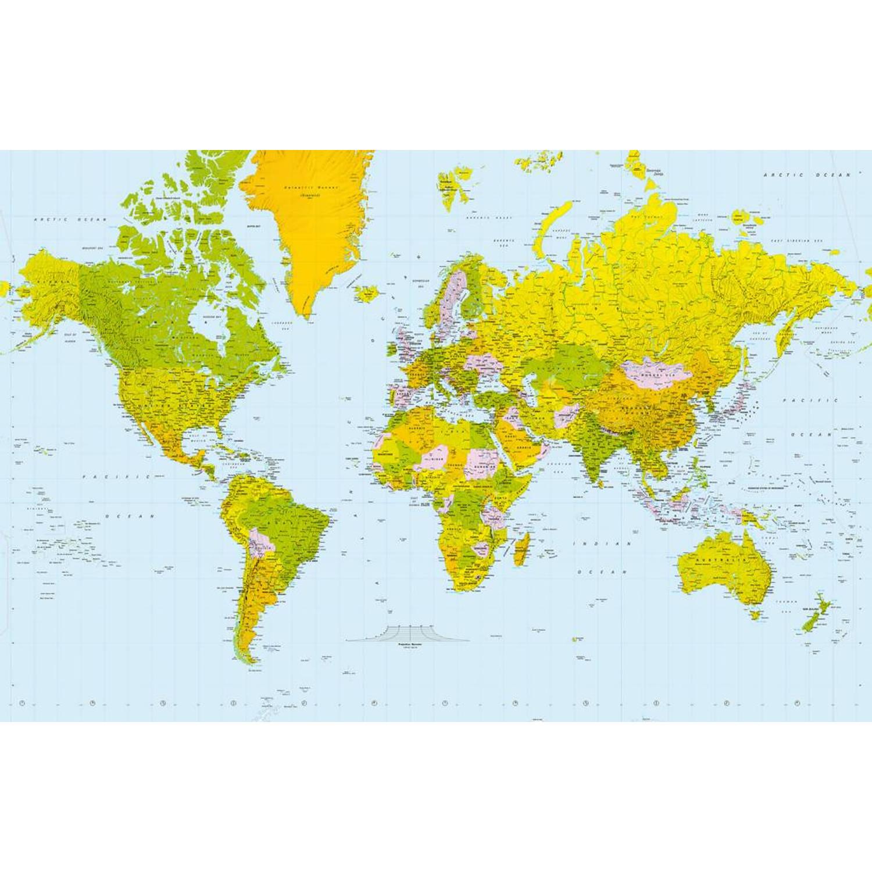 - Map Of The World - 175 X 115 Cm - Blauw