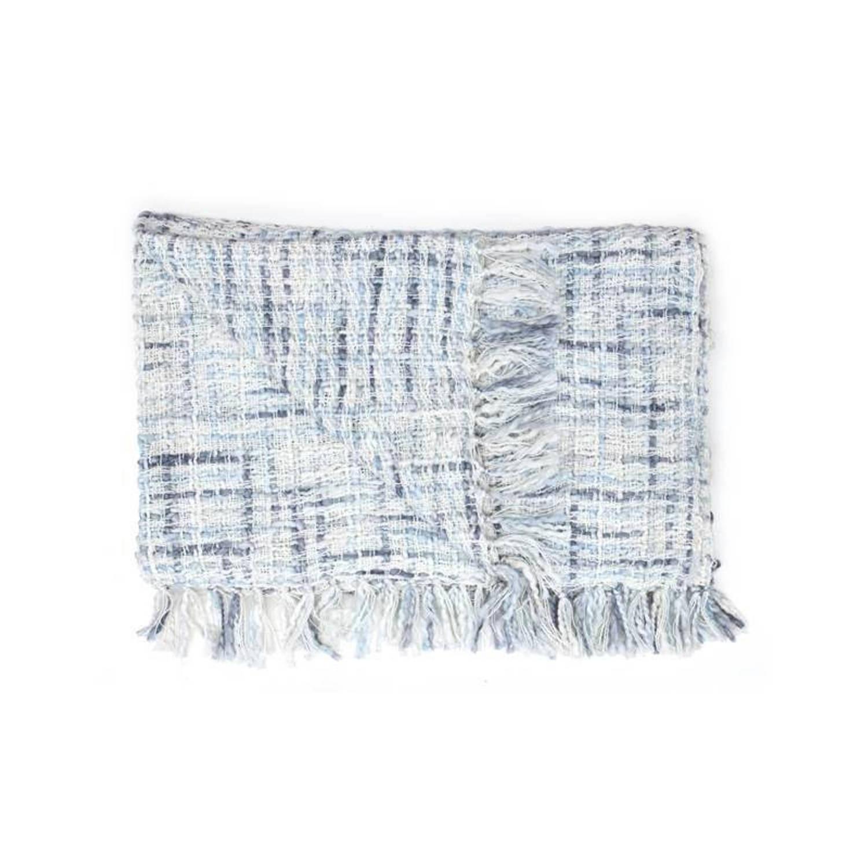 Heckett & Lane Tirza plaid - 100% katoen - 140x220 cm - Blauw, Night Blue