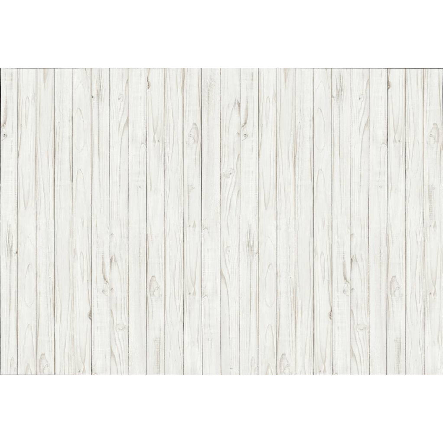 - White Wooden Wall - 366 x 254 cm - Wit