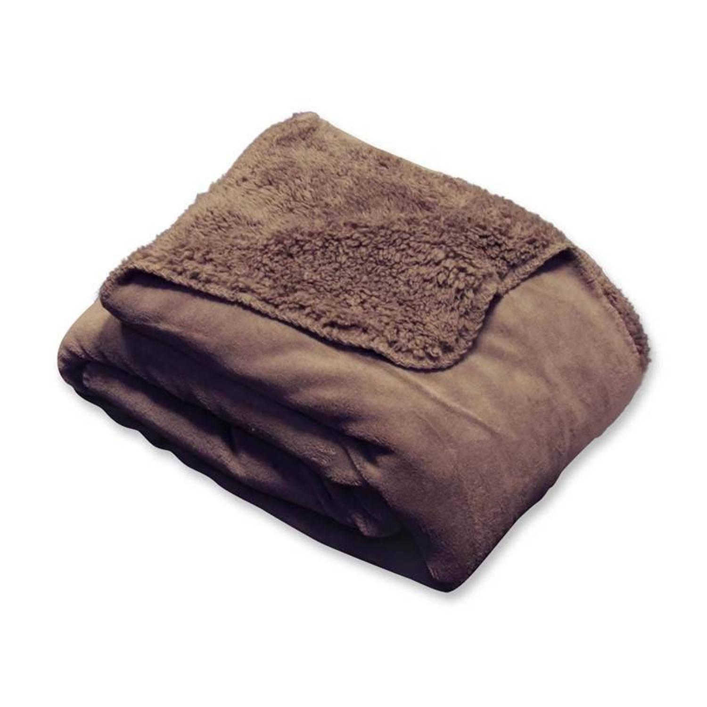 Unique Living Tavi fleece plaid - 100% polyester, Fleece polyester - 130x160 cm - Taupe