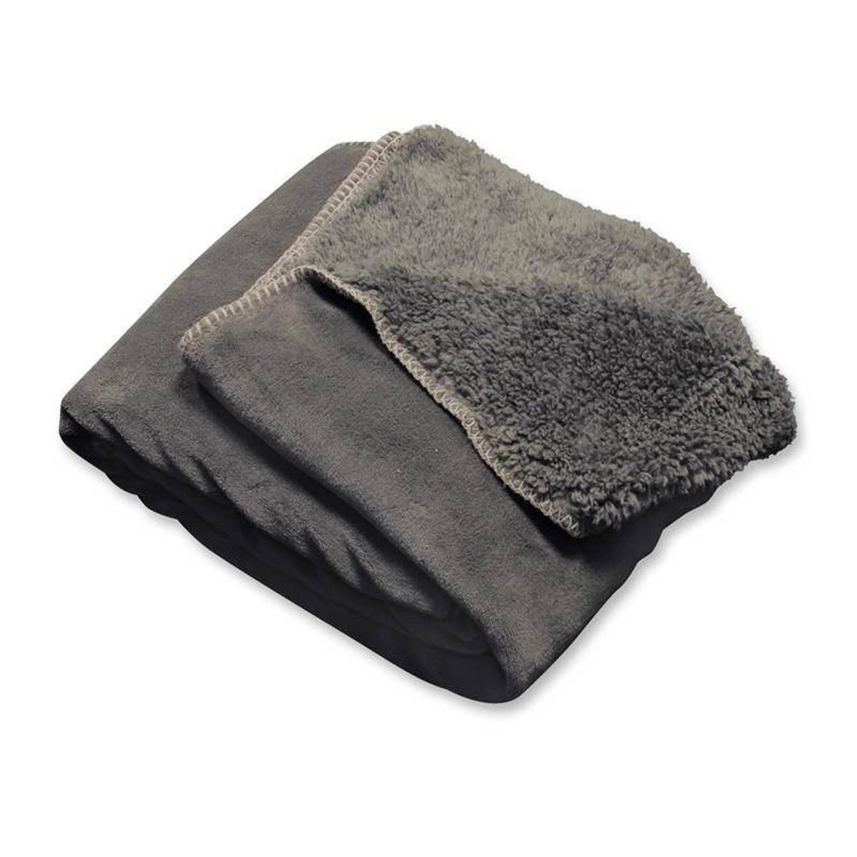 Unique Living Tavi fleece plaid - 100% polyester, Fleece polyester - 130x160 cm - Grijs, Dark grey