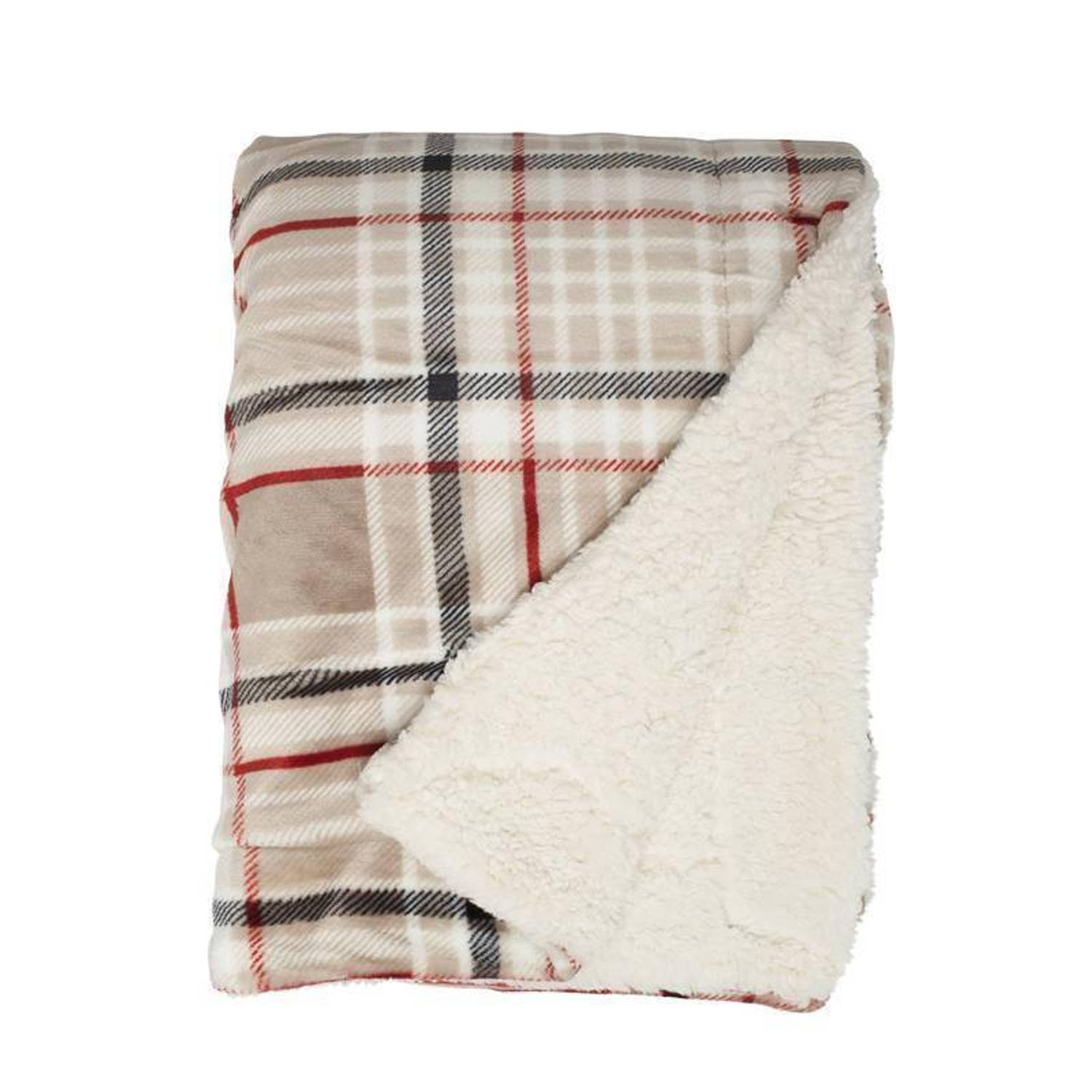 Unique Living Larsson fleece plaid - 100% polyester, Fleece polyester - 150x200 cm - Taupe