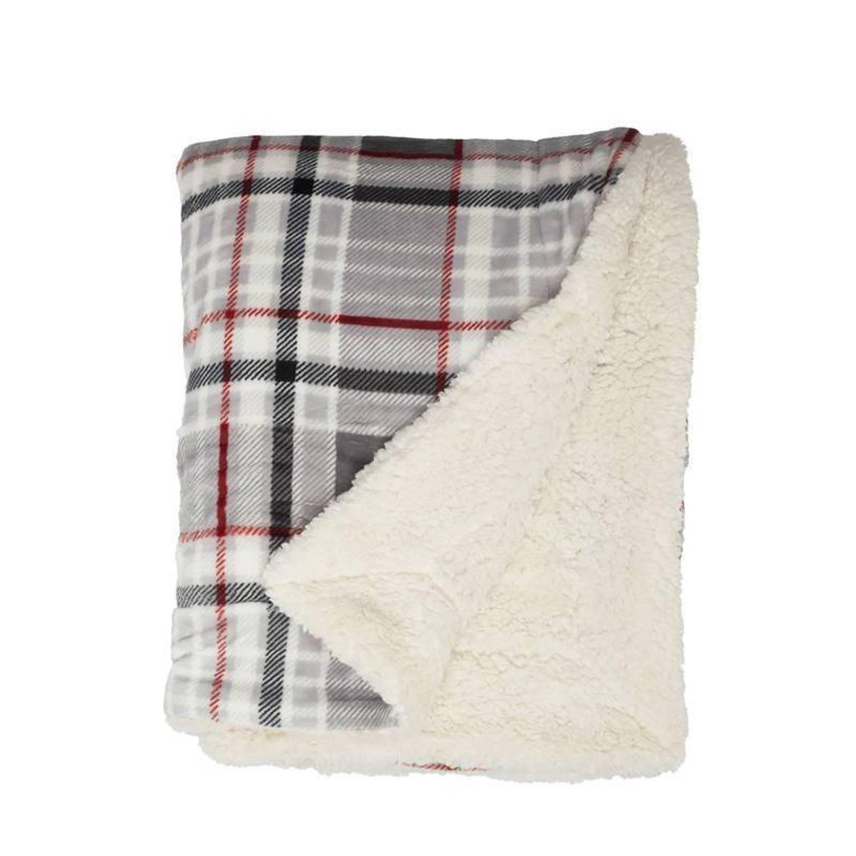 Unique Living Larsson fleece plaid - 100% polyester, Fleece polyester - 150x200 cm - Grijs