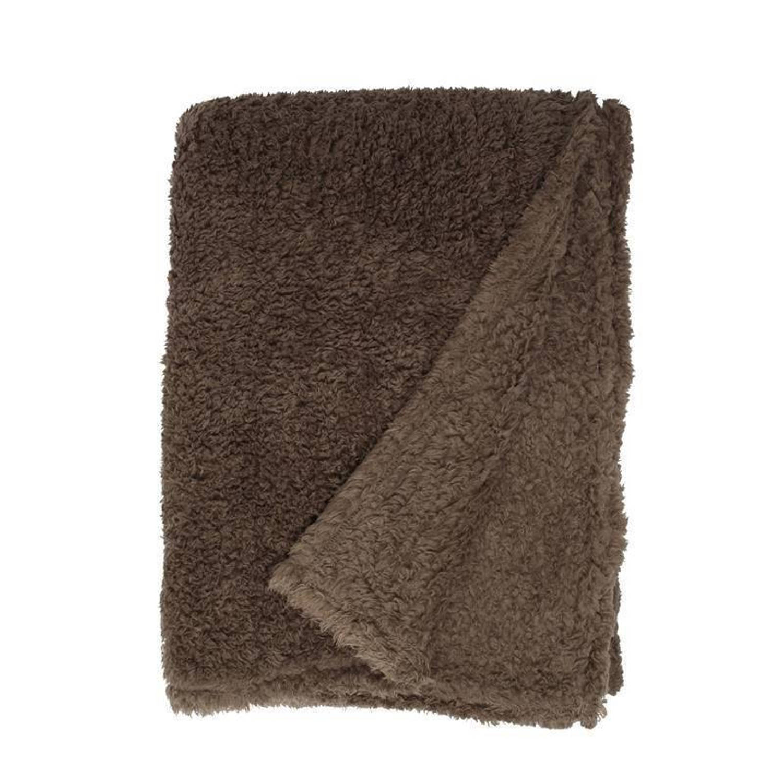 Unique Living Teddy fleece plaid - 100% polyester, Fleece polyester - 150x200 cm - Taupe