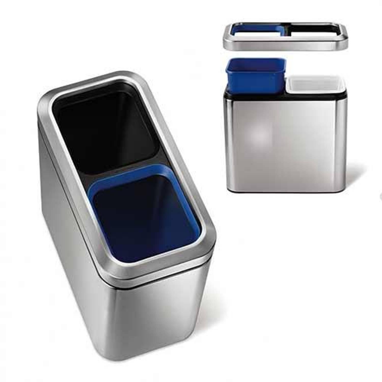 Afvalemmer slim open recycler, 2x 10 liter - simplehuman