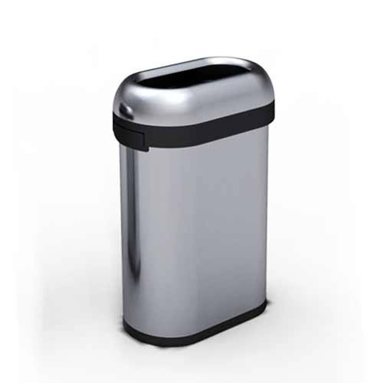Afvalemmer bullet open top rvs slimline, 50 liter - simplehuman