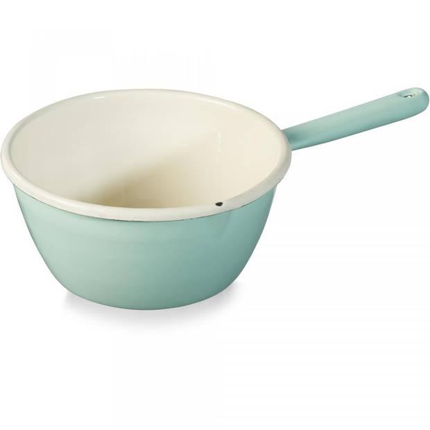 Emaille steelpan - groen - 16 cm