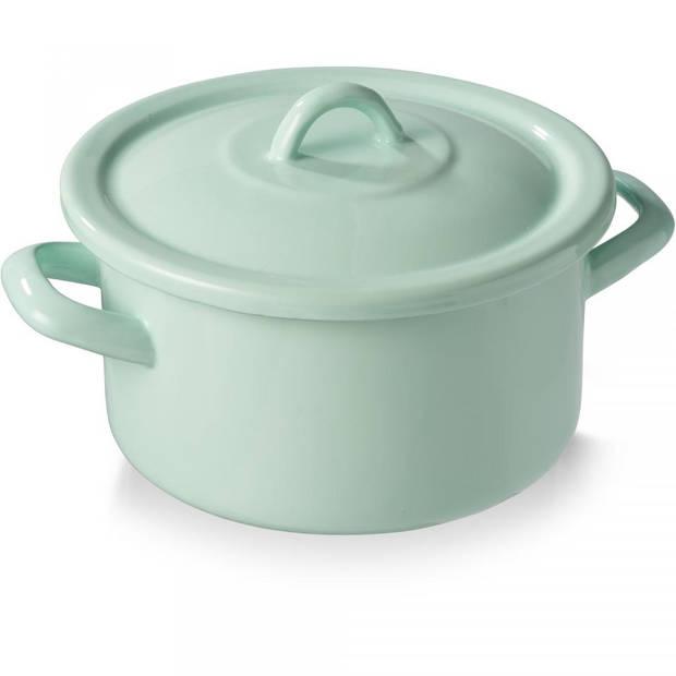Emaille kookpan - met deksel - groen - 18 cm