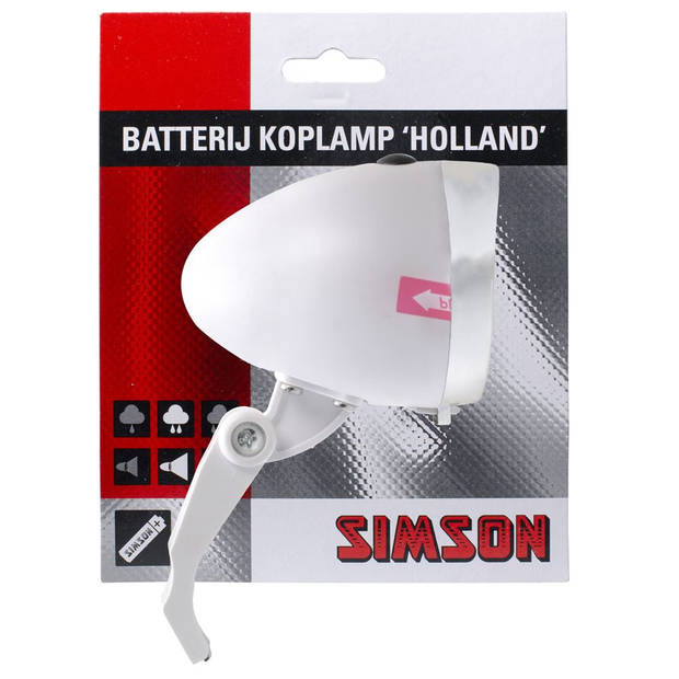 Simson koplamp Holland led batterij voorvork wit