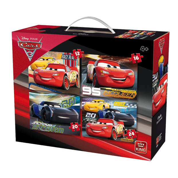 King puzzel 4-in-1 Disney Cars 3 - 12 + 16 + 20 + 24 stukjes