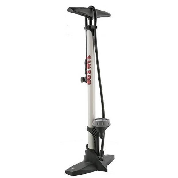Simson fietspomp met manometer staal 61 cm wit (020601)