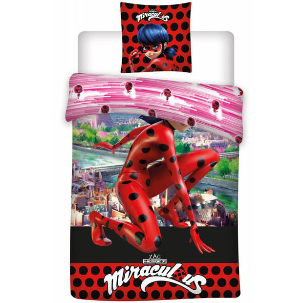 Ladybug eiffeltoren - dekbedovertrek - eenpersoons - 140 x 200 cm - rood