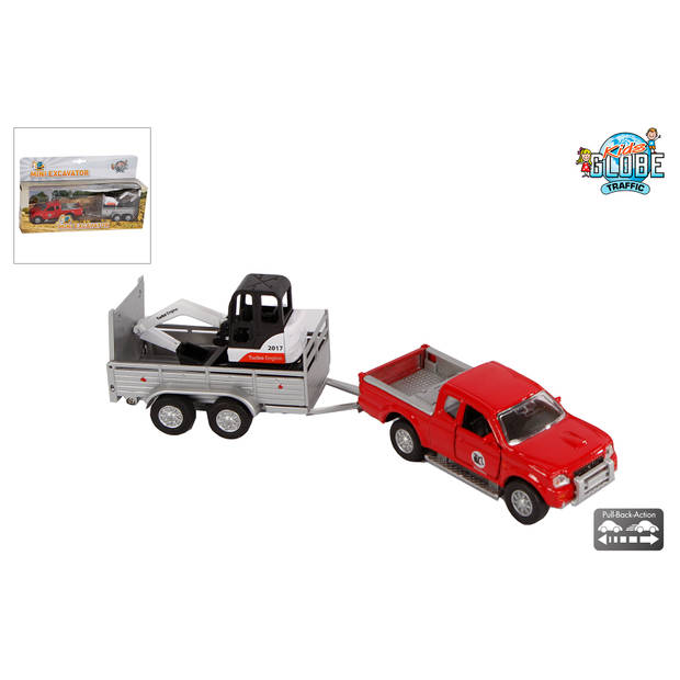 Kids Globe auto met aanhanger met minigraver