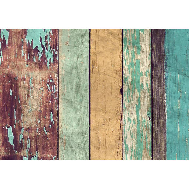 - Colored Wooden Wall - 366 x 254 cm - Multi