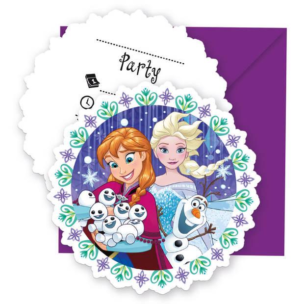 Disney Frozen Snowflakes uitnodigingen - 6 stuks