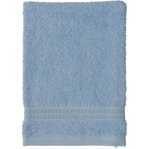 Blokker washand - blauw - katoen - 16 x 21 cm