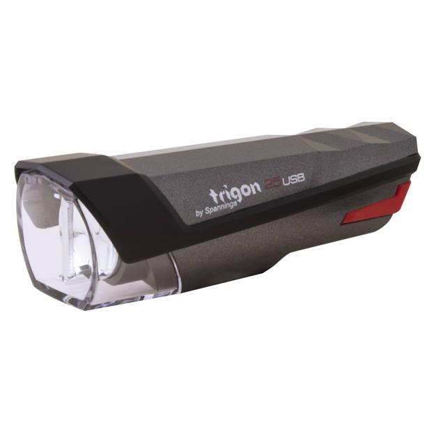 Spanninga koplamp Trigon 25 led oplaadbaar zwart
