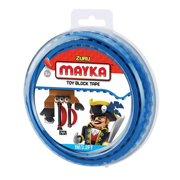 Mayka speelgoed blok tape 2 noppen - 1 meter - blauw