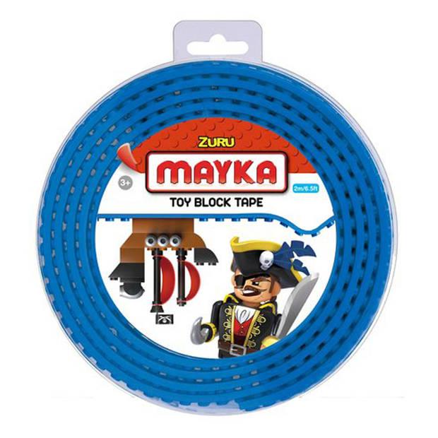 Mayka speelgoed blok tape 4 noppen - 2 meter - blauw