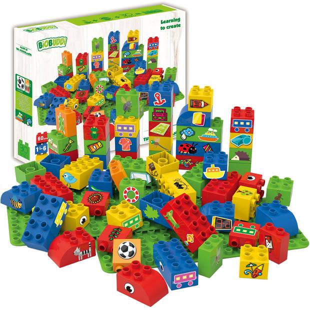BiOBUDDi blokken met 2 basisplaten - 60 stukjes