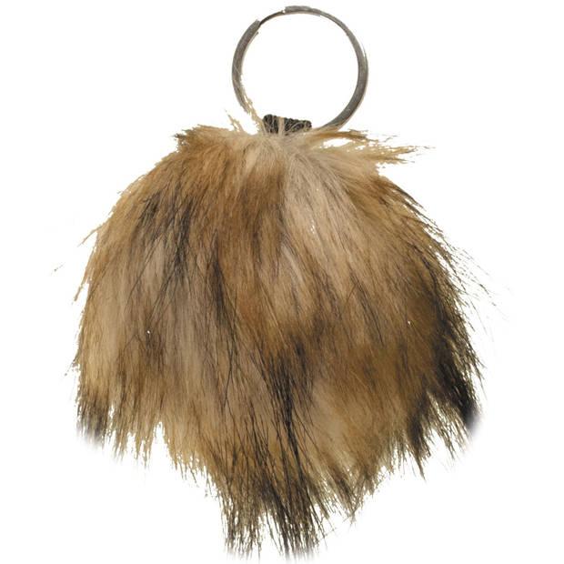 Nickelson sleutelhanger Girls Pom Pom 7 cm bruin
