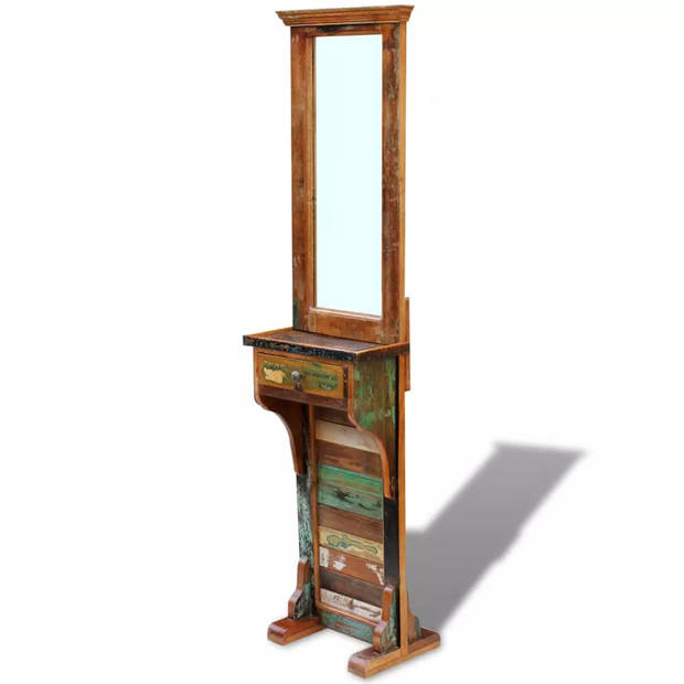 vidaXL Vrijstaande spiegel massief gerecycled hout 47x23x180 cm