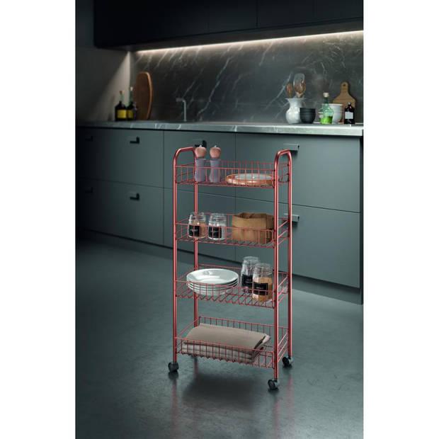 Metaltex Ascona keukentrolley - 4-laags - koperkleurig