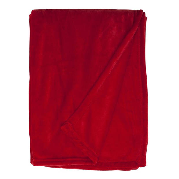 Unique Living Enzo fleece plaid - Fleece polyester - 130x180 cm - Rood