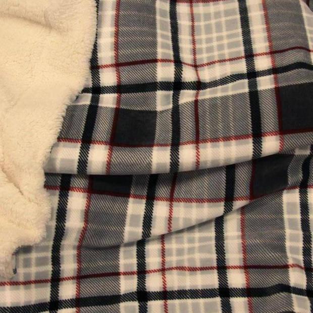 Unique Living Larsson fleece plaid - 100% polyester - 150x200 cm - Grijs