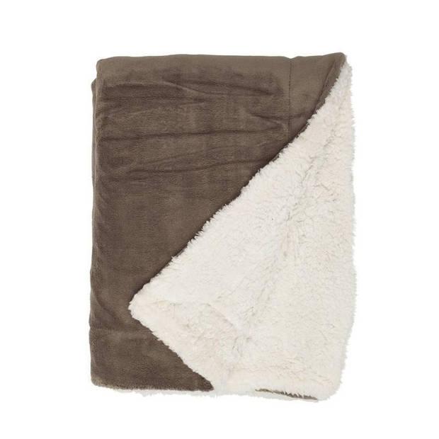 Unique Living Lars fleece plaid - 100% polyester - 150x200 cm - Taupe